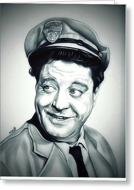 Collar Drawings Greeting Cards - Vintage Ralph Kramden Greeting Card by Fred Larucci