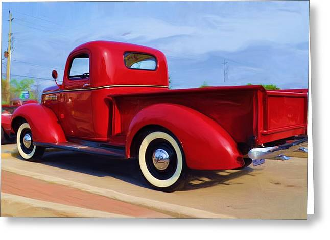 Collector Car Mixed Media Greeting Cards - Vintage Red Greeting Card by Bill Willemsen