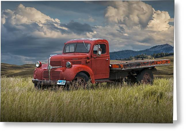 Old Trucks Greeting Cards - Vintage Red Dodge Truck Greeting Card by Randall Nyhof