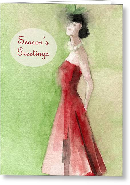 Vintage Red Dress Fashion Holiday Card Greeting Card by Beverly Brown