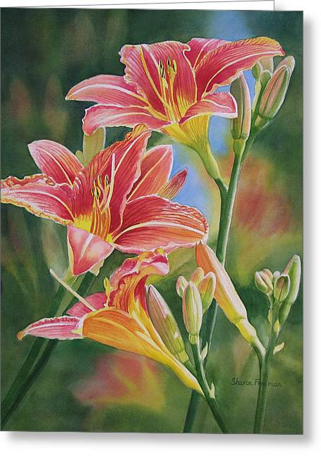 Day Lily Greeting Cards - Vintage Red Orange Lilies Greeting Card by Sharon Freeman