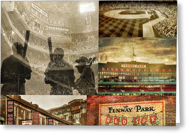 Boston Sports Greeting Cards - Vintage Red Sox Fenway Park Baseball Collage Greeting Card by Joann Vitali