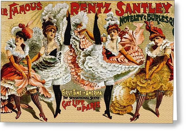 Night Cafe Drawings Greeting Cards - Vintage Rentz Santley Novelty and Burlesque Co. Greeting Card by Just Eclectic