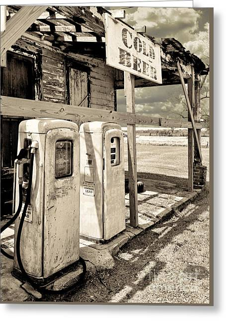 Pumping Station Greeting Cards - Vintage Retro Gas Pumps Greeting Card by Mindy Sommers