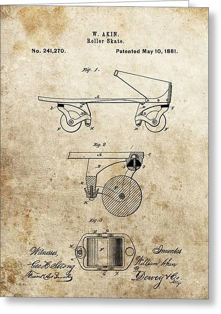 Rollerskate Greeting Cards - Vintage Roller Skate Patent Greeting Card by Dan Sproul