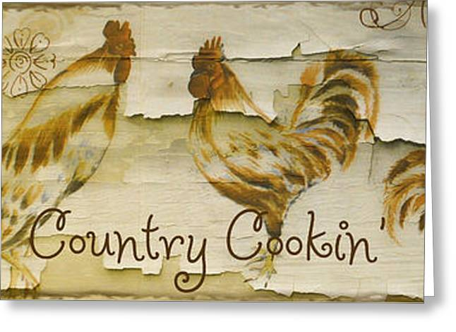 Rooster Kitchen Art Greeting Cards - Vintage Rooster Country Cookin Greeting Card by Mindy Sommers