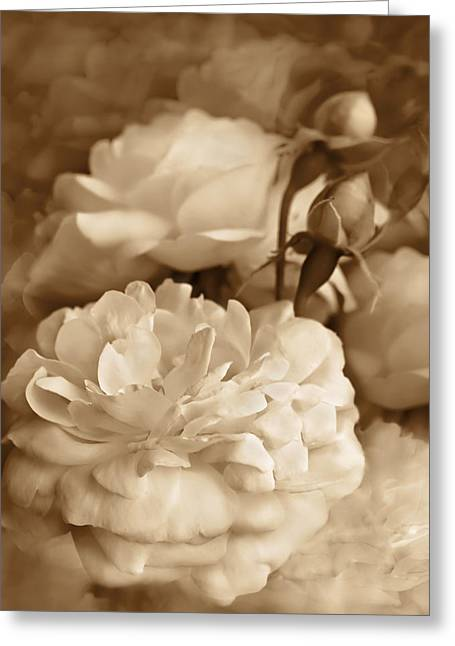 Cream Rose Greeting Cards - Vintage Roses Bouquet in Sepia Greeting Card by Jennie Marie Schell