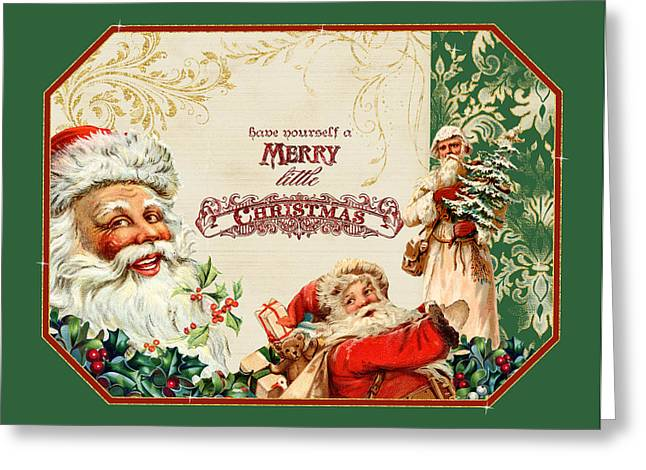 Postcard Mixed Media Greeting Cards - Vintage Santa Claus - Glittering Christmas 3 Greeting Card by Audrey Jeanne Roberts