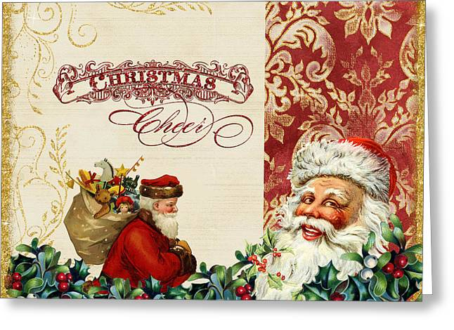 Postcard Mixed Media Greeting Cards - Vintage Santa Claus - Glittering Christmas 5 Greeting Card by Audrey Jeanne Roberts