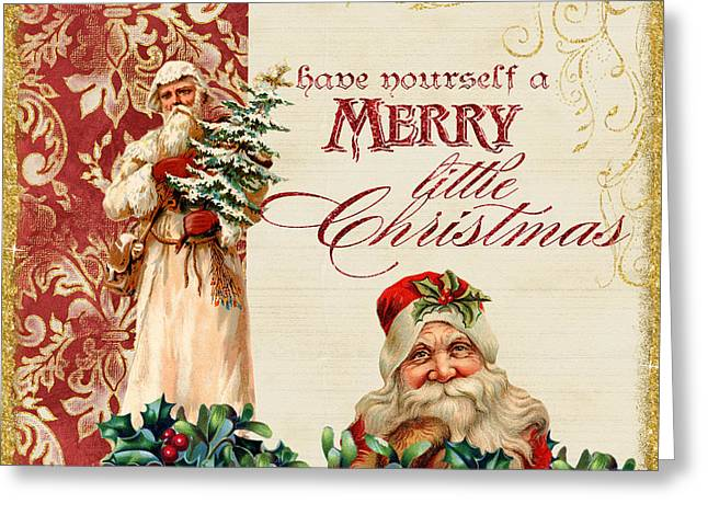 Vintage Santa Claus - Glittering Christmas Greeting Card by Audrey Jeanne Roberts