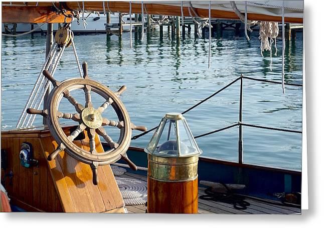 Ocean Sailing Greeting Cards - Vintage Schooner Greeting Card by Kristian Gallagher