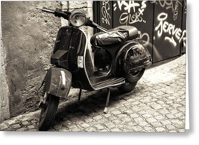 Old Street Greeting Cards - Vintage Scooter in Napoli Greeting Card by John Rizzuto