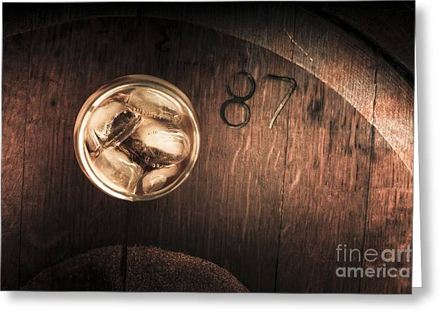 Vintage Scotch Whisky On Wooden Tabletop Greeting Card by Jorgo Photography - Wall Art Gallery