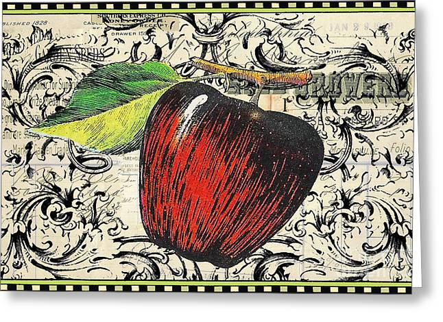 Kitchen Licensing Mixed Media Greeting Cards - Vintage Script Apple Print Greeting Card by Anahi DeCanio