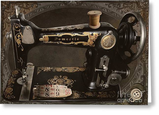 Vintage Sewing Machine Greeting Card by Mindy Sommers