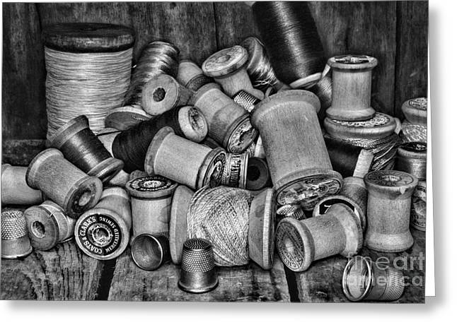 Quilting Greeting Cards - Vintage Sewing Spools in black and white Greeting Card by Paul Ward