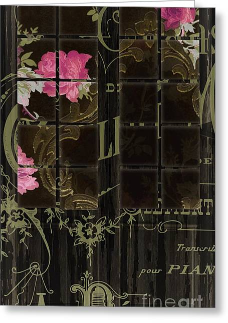 French Script Greeting Cards - Vintage Shabby French Door Greeting Card by Mindy Sommers