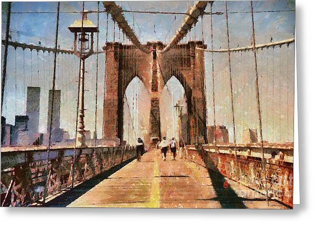 Vintage Shot Of Brooklyn Bridge With Twin Towers Greeting Card by Nishanth Gopinathan