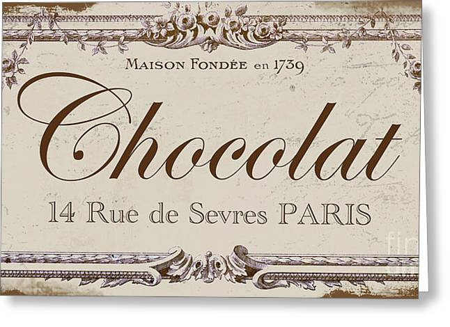 Antiques Sign Greeting Cards - Vintage Sign, Chocolat Paris Greeting Card by Mindy Sommers