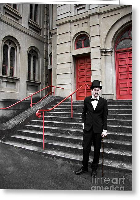 Stepping Stones Greeting Cards - Vintage Sinister Man Greeting Card by Ryan Jorgensen