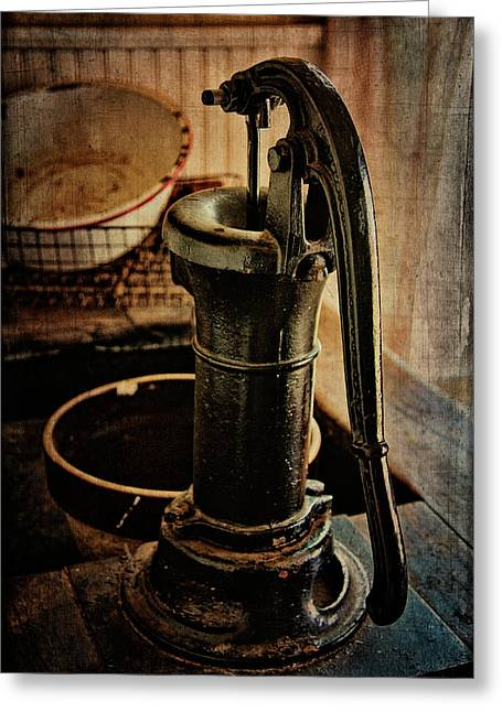 Vintage Sink Greeting Card by Lana Trussell