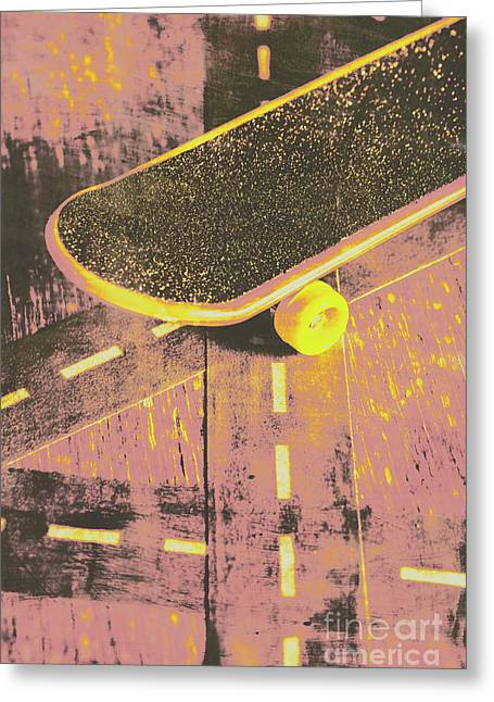 Vintage Skateboard Ruling The Road Greeting Card by Jorgo Photography - Wall Art Gallery