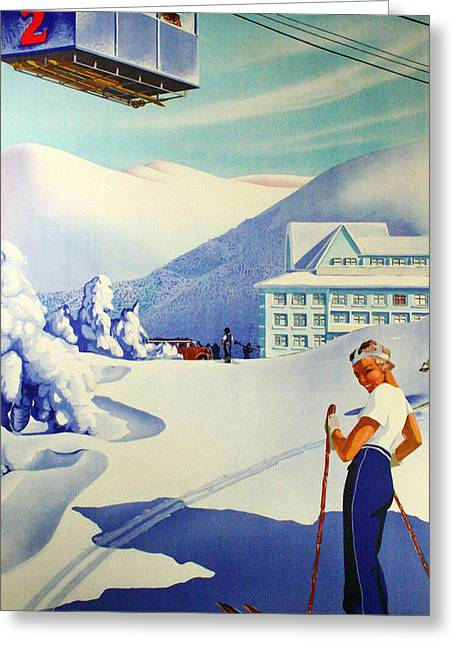 Vintage Skiing Poster Greeting Card by Tina Lavoie