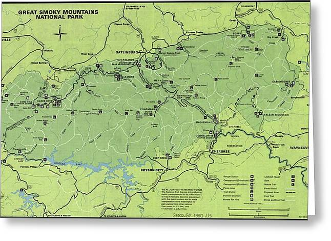 Vintage Smoky Mountains National Park Map Greeting Card by Dan Sproul
