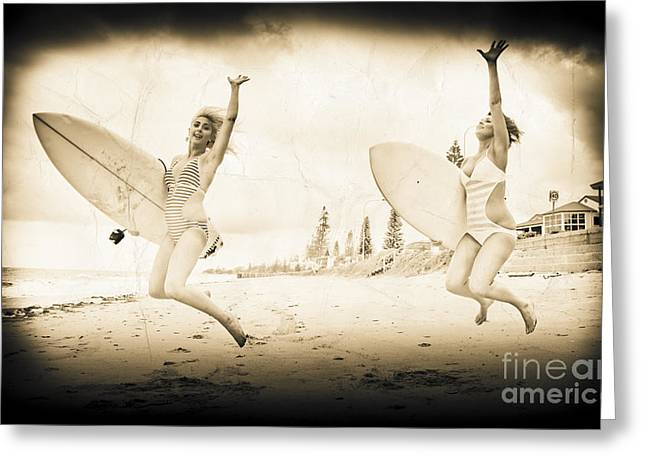 Exciting Surf Greeting Cards - Vintage Sport Photograph Greeting Card by Ryan Jorgensen