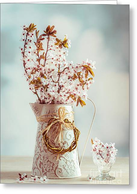 Interior Still Life Photographs Greeting Cards - Vintage Spring Blossom Greeting Card by Amanda And Christopher Elwell