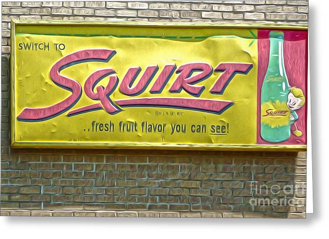 Vintage Squirt Sign Greeting Card by Gregory Dyer
