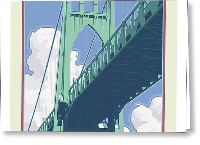 Vintage St. Johns Bridge Travel Poster Greeting Card by Mitch Frey