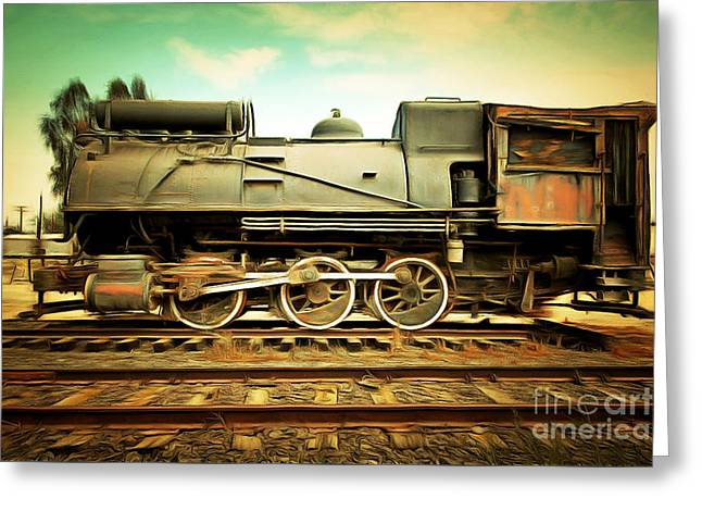 Home Decor Greeting Cards - Vintage Steam Locomotive 5D28362brun Greeting Card by Home Decor