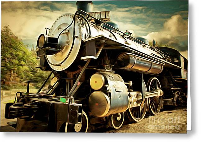Home Decor Greeting Cards - Vintage Steam Locomotive 5D29110brun Greeting Card by Home Decor