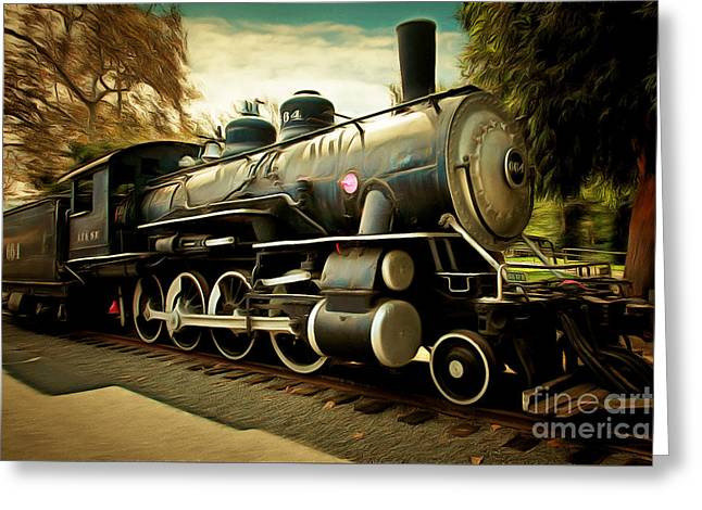 Vintage Steam Locomotive 5d29122brun Greeting Card by Home Decor