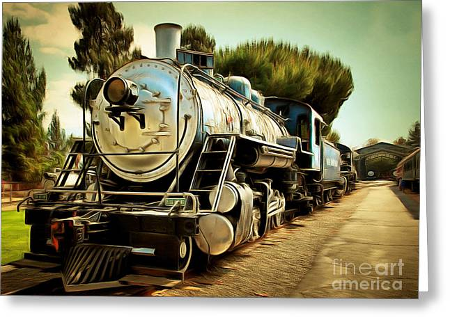 Vintage Steam Locomotive 5d29135brun Greeting Card by Home Decor