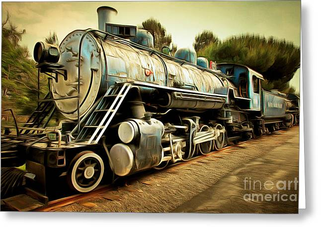 Vintage Steam Locomotive 5d29142brun Greeting Card by Home Decor