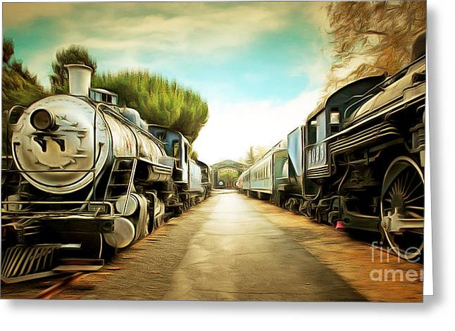 Vintage Steam Locomotive 5d29143brun Greeting Card by Home Decor