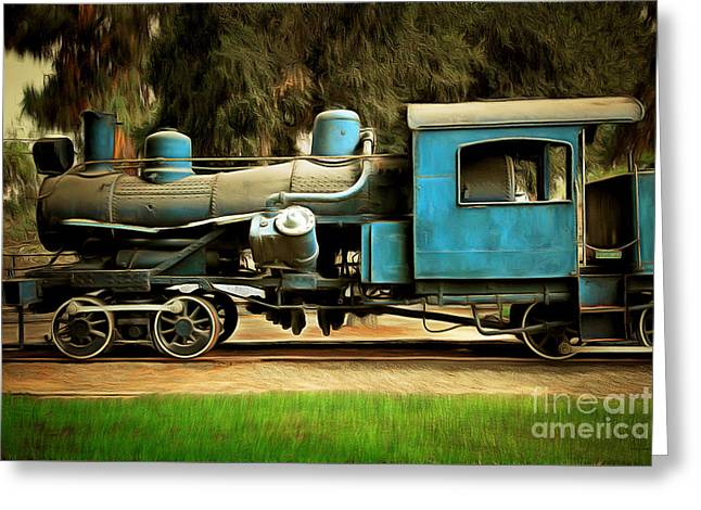 Vintage Steam Locomotive 5d29167brun Greeting Card by Home Decor