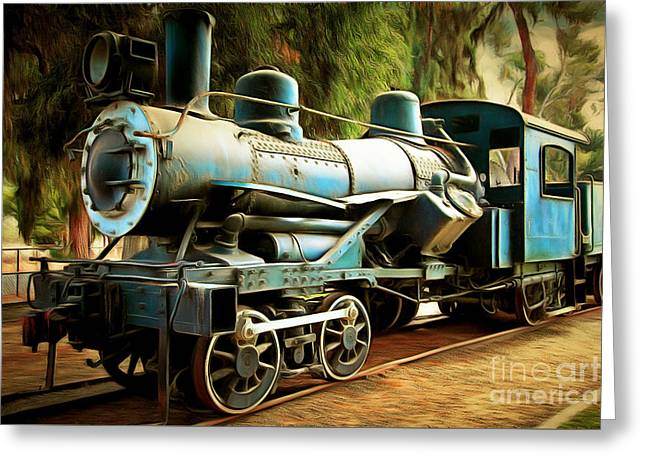 Vintage Steam Locomotive 5d29168brun Greeting Card by Home Decor