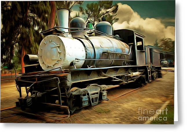 Vintage Steam Locomotive 5d29172brun Greeting Card by Home Decor