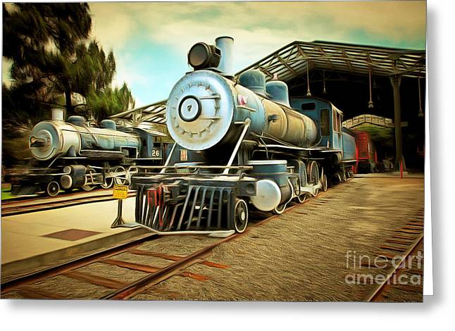 Vintage Steam Locomotive 5d29179brun Greeting Card by Home Decor