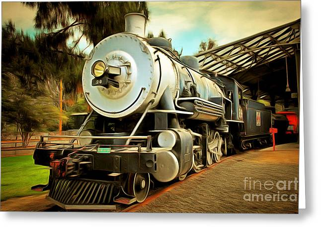 Vintage Steam Locomotive 5d29200brun Greeting Card by Home Decor