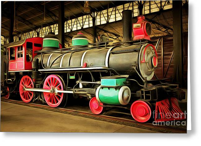 Vintage Steam Locomotive 5d29244brun Greeting Card by Home Decor