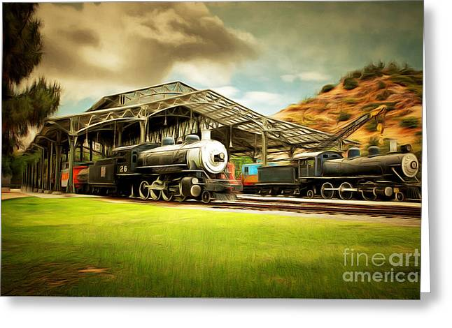 Vintage Steam Locomotive 5d29279brun Greeting Card by Home Decor