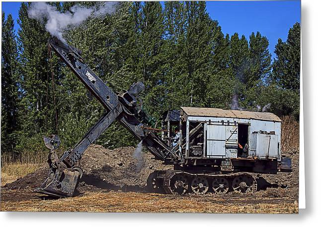 Dipper Greeting Cards - Vintage steam shovel Greeting Card by Garry Gay