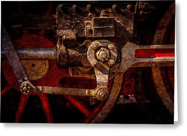 Driving Machine Greeting Cards - Vintage steam train drives Greeting Card by Alexander Senin