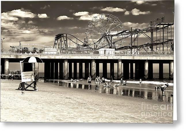 Vintage Steel Pier Greeting Card by John Rizzuto