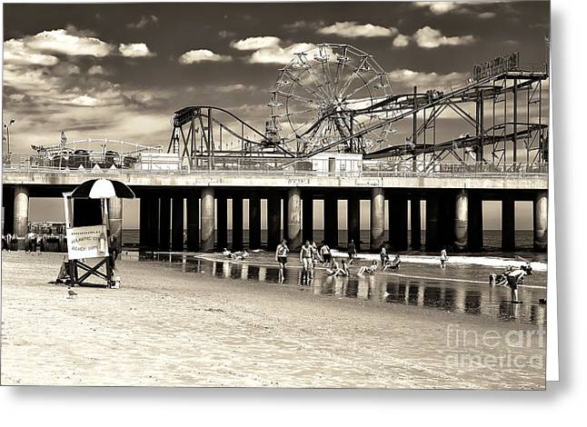 Old School Galleries Greeting Cards - Vintage Steel Pier Greeting Card by John Rizzuto
