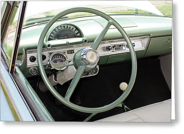 Steering Greeting Cards - Vintage Steering Wheel Greeting Card by Ellen Tully